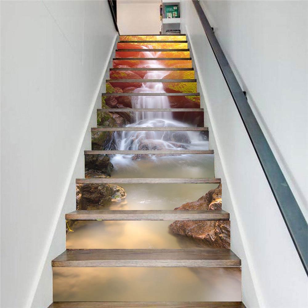 13 unids/set de pegatinas de escaleras, murales de Arte de cascada de sol para la decoración del hogar, pegatinas de pared de escalera 3D, pegatinas de PVC para pared DIY