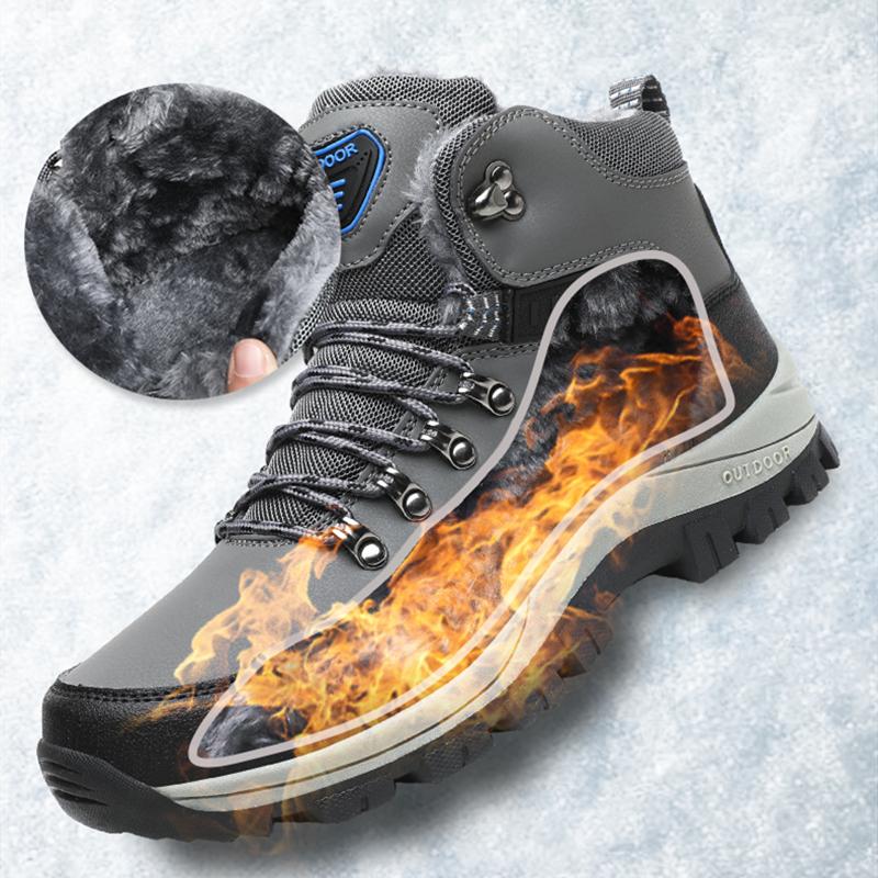 الشتاء أفخم الرجال الثلوج أحذية الكاحل Platfofm عالية الجودة في الهواء الطلق الذكور الأحذية عارضة الفاخرة القطن أحذية العمل السلامة الأصلي