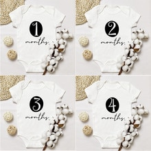 Baby Monthly Bodysuit Newborn Baby Romper Boys Girls Unisex Baby Bodysuits Monthly Print Rompers Inf