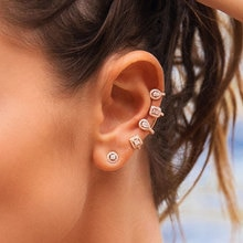 UILZ الشرير نمط AAA زركون قطعة رئيسية من الهندسة-مجوهرات الاتجاه الأذن العظام حلقان على شكل أساور قطعة واحدة UE2027