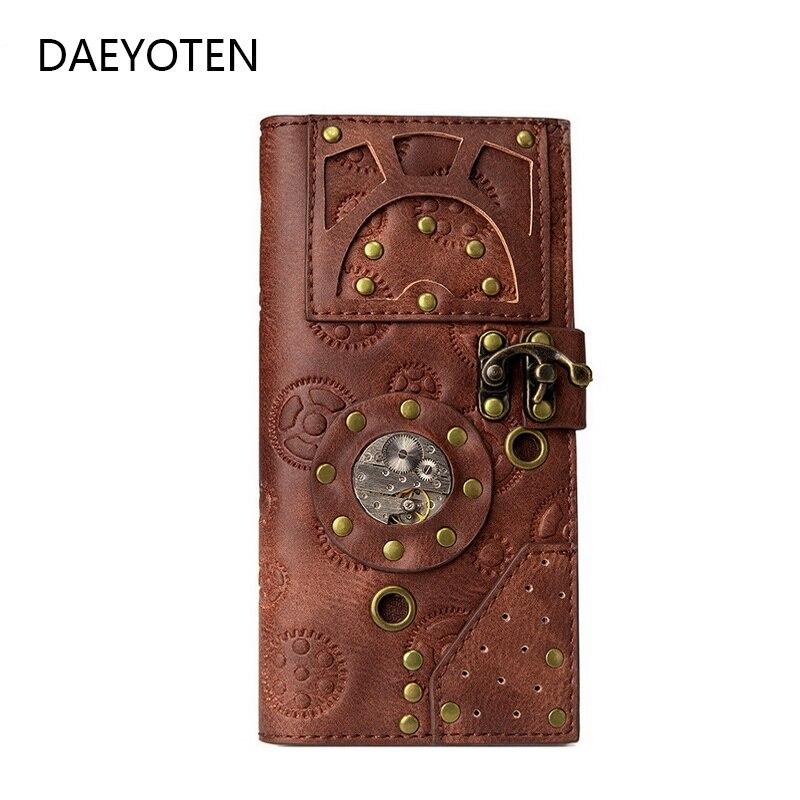 DAEYOTEN-محفظة للرجال والنساء ، محفظة ريترو Steampunk ، مع برشام قوطي ، حامل بطاقات منقوش ، حقيبة نقود ، ZM0337