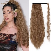aisi hair synthetic long wavy ponytail blonde brown wrap around clip in hair extensions mix brown pony tail black fack hair