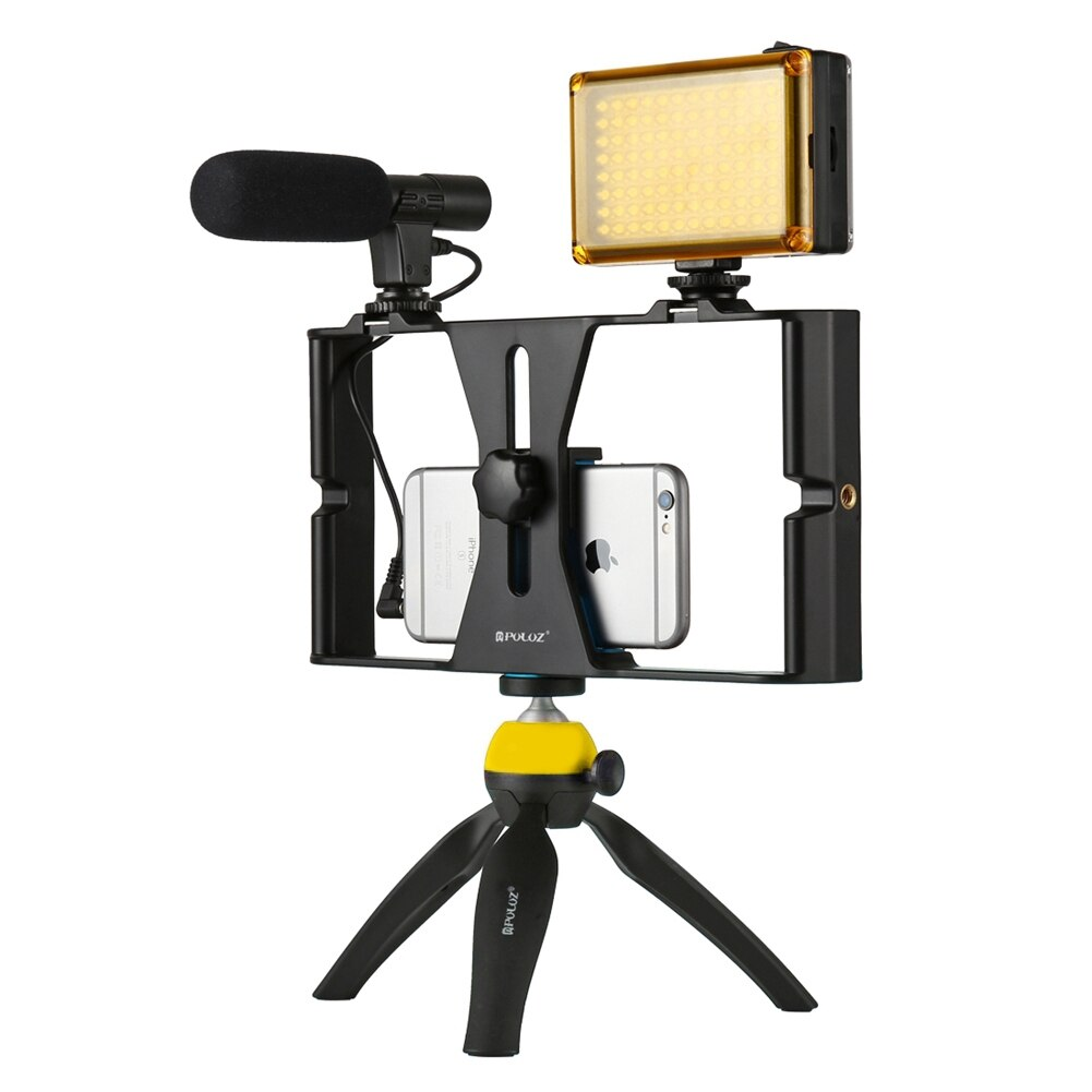 PULUZ Handheld Phone Vlogging Setup Video Stabilizer with LED light,Microphone for iPhone 8 7plus for Youtube Video Filmmaking ulanzi u rig pro phone video stabilizer grip tripod mount stand handheld smartphone video rig filmmaking case for iphone
