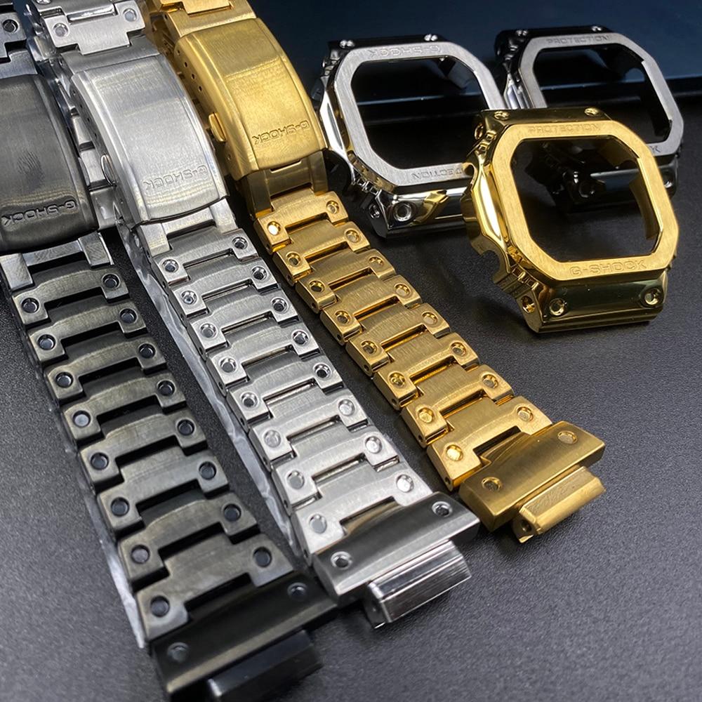 DW5600 حزام ساعة اليد + الحافة GW-B5600 DW5610 ل كاسيو g-shock Replacment سوار معدني حزام (استيك) ساعة حالة 5600 GWM5610 GW5000