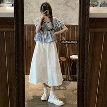 2021summer New Casual Fashion Set Women's Korean-Style Plaid Shirt Skirt Fried Street Western Style
