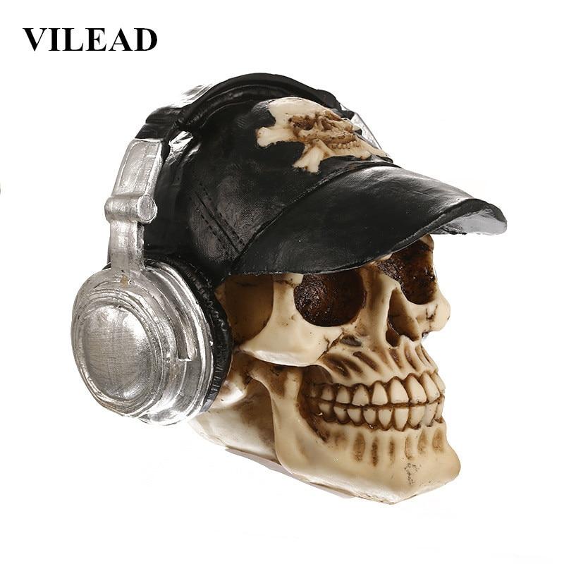 VILEAD casque crâne Statue Halloween décoration résine artisanat Animal crâne accessoires Bar comptoir décoration de la maison Sculpture cadeaux