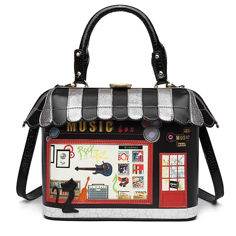 حقيبة على شكل منزل الموضة المرأة حقيبة كتف إيطاليا براتشياليني حقيبة يد نمط الرجعية اليدوية بولسا الأنثوية للسيدات حمل حقيبة