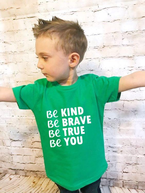Camiseta Be Kind Be Brave Be True Be You Kids, camiseta para niños y niñas, ropa para niños pequeños, camisetas divertidas Tumblr Top, envío directo
