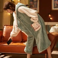 women sleepwear plush nightdress winter pajamas hooded loose version inspissate medium style nightgown keep warm night robe