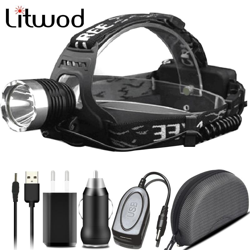 XM-L T6 lámpara de cabeza de pesca linterna frontal recargable 3000lm bombillas Led Litwod Camping equitación escalada Ion de litio 10W