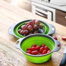 hot sell Portable Folding Bucket Foldable Silicone Colander Fruit Vegetable Washing Basket Wash Bucket Outdoor Strainer Kitchen