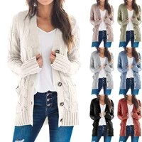 autumn and winter fashion new casual jacket pure color twist button cardigan sweater women trendy ladies sweater