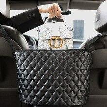 Car Handbag Holder Luxury Leather Seat Back Organizer Mesh Large Capacity Bag Automotive Goods Stora