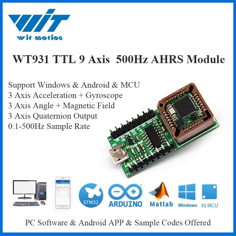 WT931 hasta 500Hz AHRS IMU Sensor de 3 ejes ángulo + acelerómetro giroscopio + magnetómetro MPU-9250 módulo para PC/Android/MCU