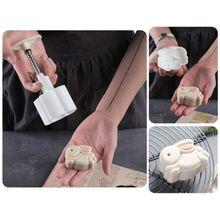 50g Mooncake baril moule avec 3D lapin timbre main presse lune gâteau pâtisserie moule C6UE