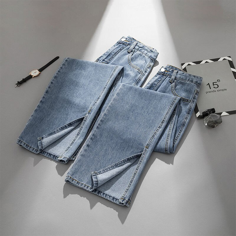 Korean Style High Waist Jeans Women's Autumn 2021 New All-Match Loose Split Draping BF Style Mop Wid