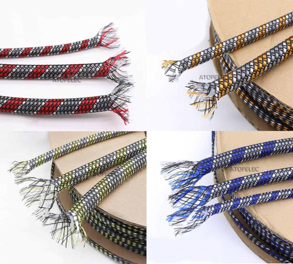 4mm trenzado ancho suave PP hilo de algodón + PET expandible Sleeving Cable vaina rojo/naranja/amarillo/azul + blanco + gris