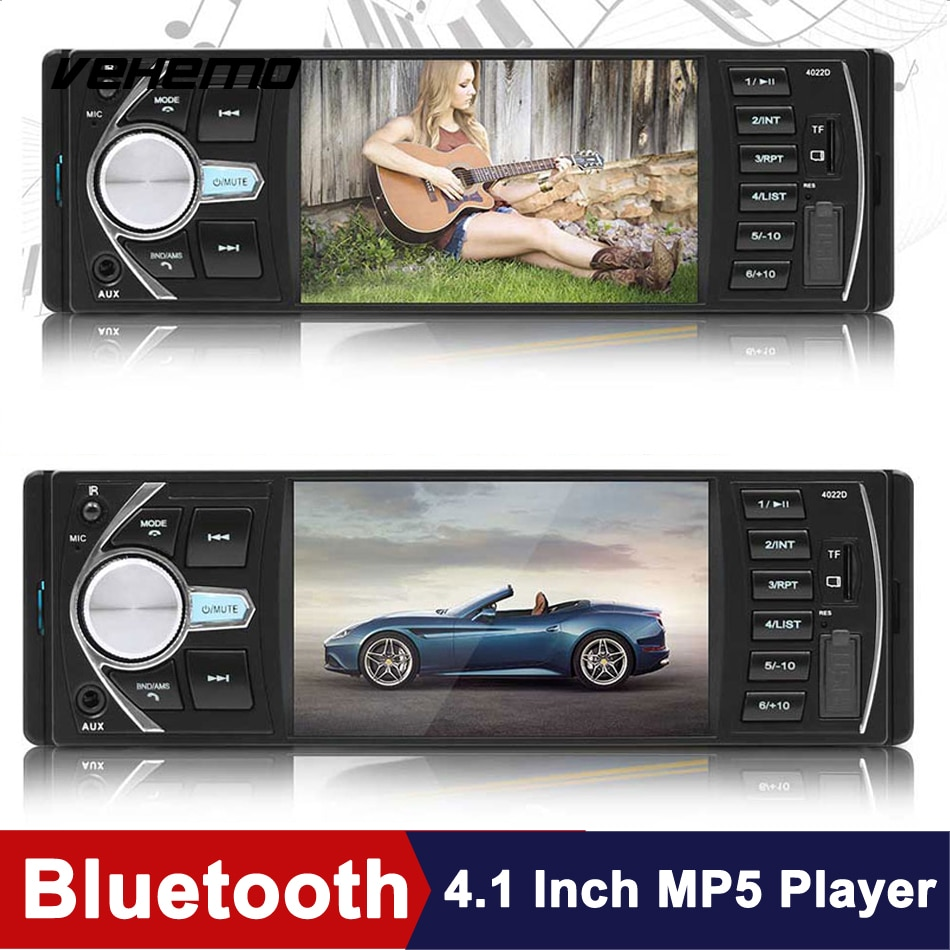 Carro mp5 player 4.1 Polegada usb aux bluetooth dc12v carro mp5 automotivo multimídia jogador suporte vista traseira carros jogador de vídeo