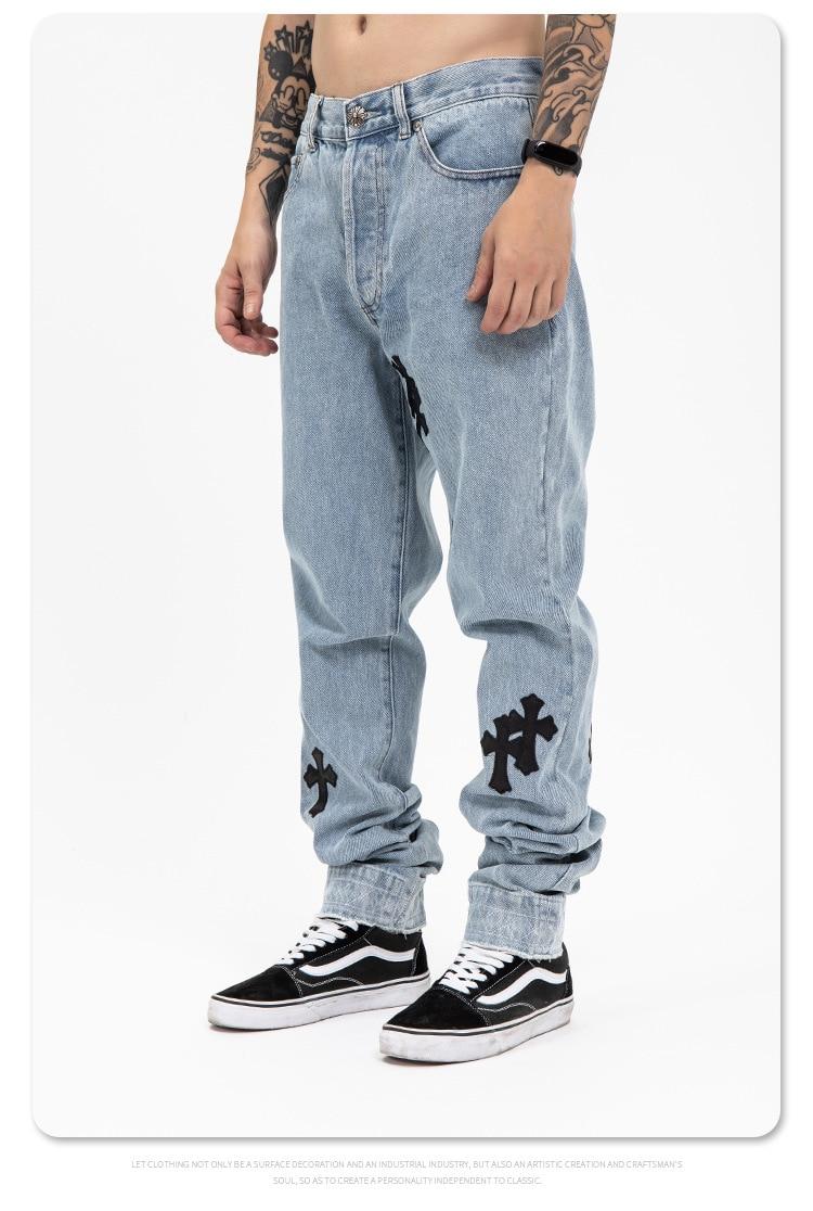 Pantalones vaqueros cruzados de cuero genuino para hombre vaqueros cromados de calle...