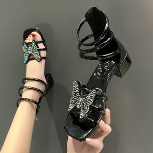 Gladiator Sandals Women Shoe Summer Style Open Toe Pumps Ladies High Heels Slip on Bling Fashion Party Woman Shoes Free Shipping