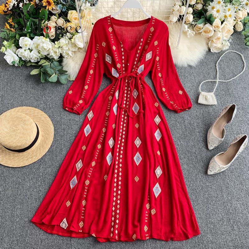 Vestido de verano elegante con escote triangular, vestido de mujer de manga larga con escote y comodidad en la cintura, envío gratis