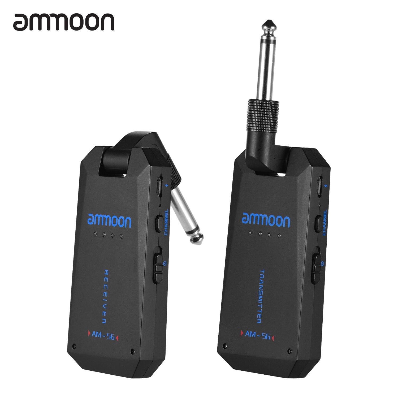 Ammoon AM-5G inalámbrico 5,8G Sistema de guitarra transmisor de Audio recargable y receptor de banda ismo para guitarra bajo eléctrico