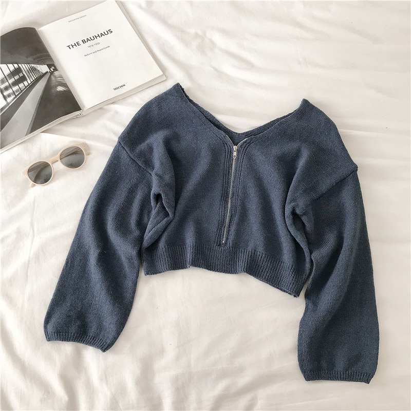 Knitted sweater feminine 2021 pure color ladies longsleeved casual thin chic zipper knitted sweater