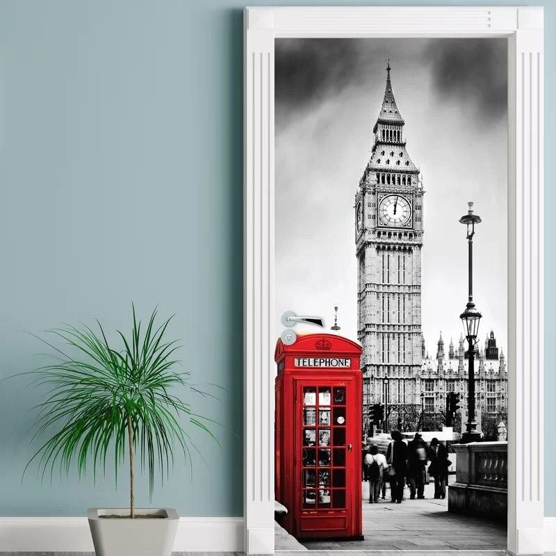 Adhesivo 3d para puerta autoadhesivo para renovar la cabina telefónica de Londres, decoración del hogar, Impresión de pared, arte de PVC, papel pintado impermeable, imagen para habitación de niños