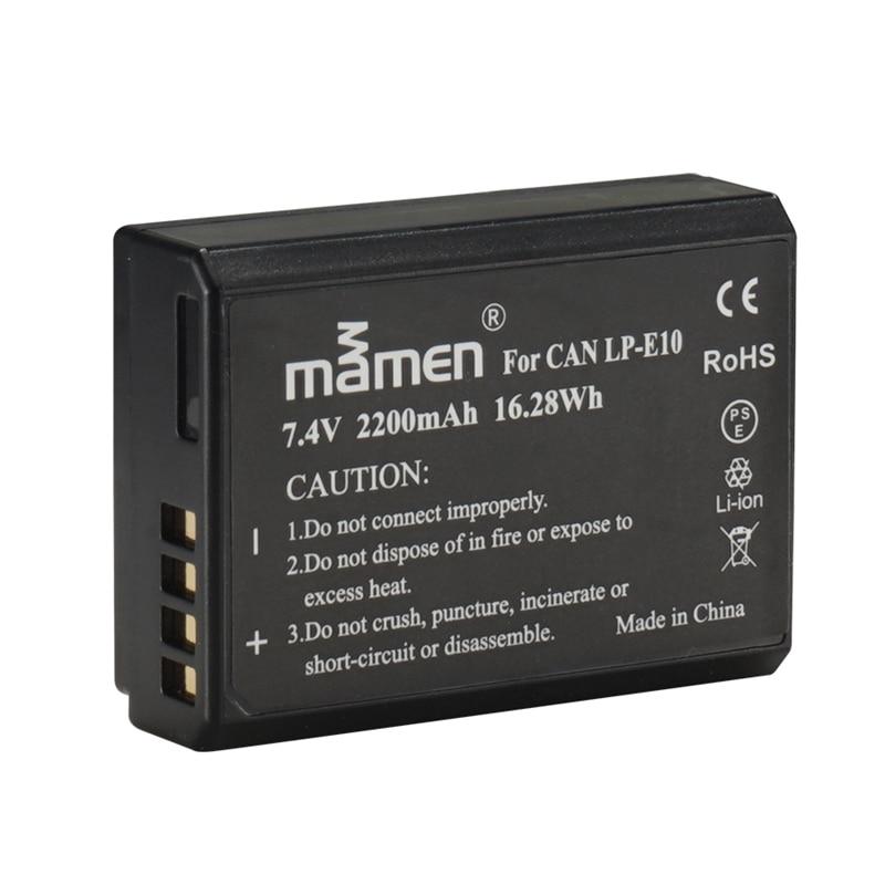 Mamen LP-E10 lp e10 2200 mah bateria da câmera para canon eos 1100d 1200d 1300d rebel t3 t5 t6 beijo x50 x70 recarregável li-baterias