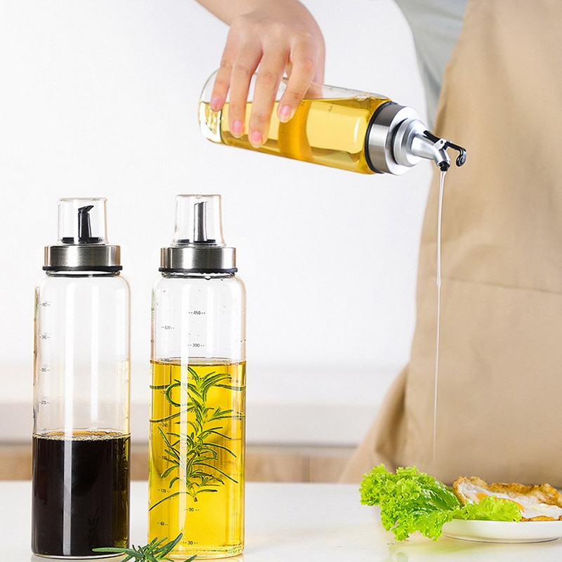 Dispensador de aceite, botella para condimentos, botella para salsa, accesorios de cocina, botellas de vidrio de almacenamiento para aceite y vinagre