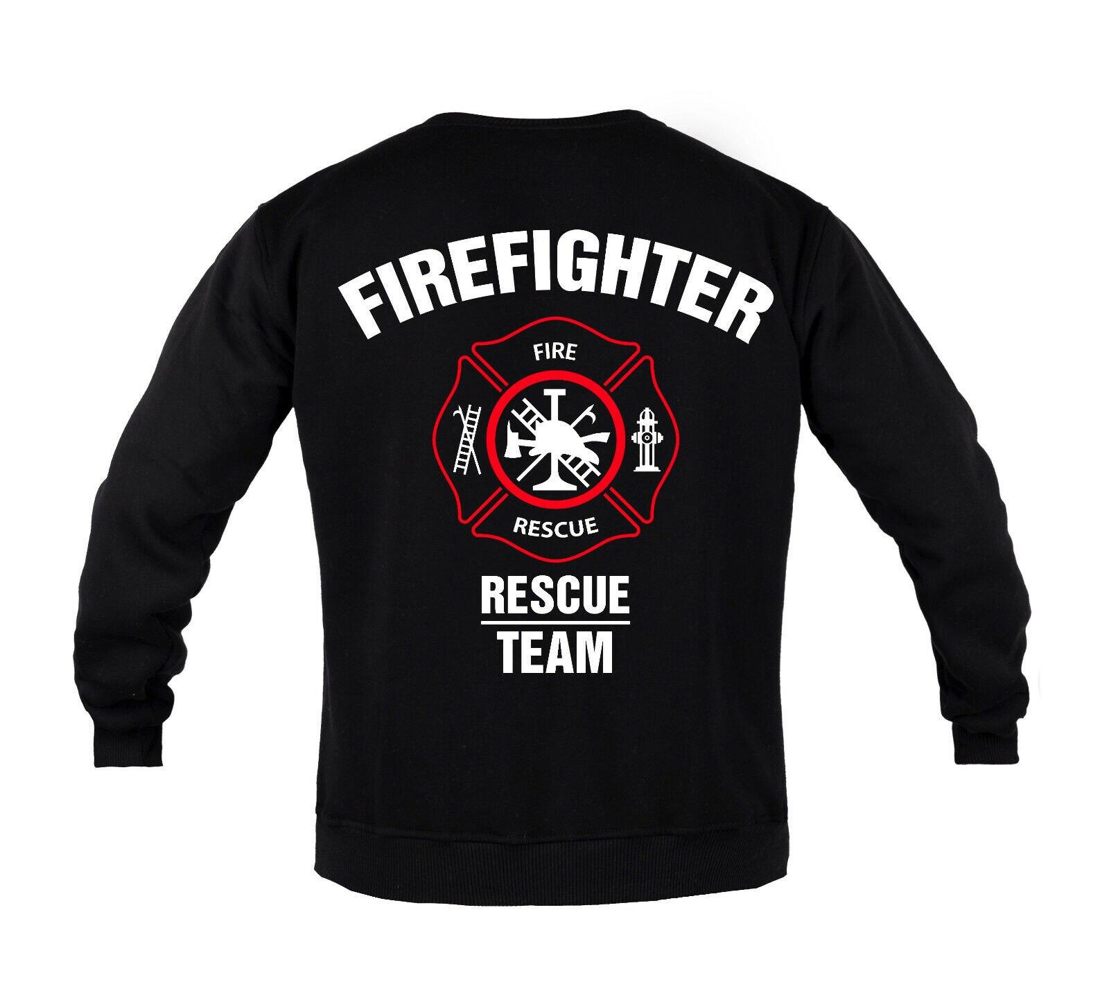 Equipe de resgate dos bombeiros moletom masculino algodão bombeiro moletom com capuz crewneck