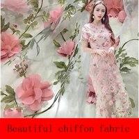french three dimensional flower chiffon lace organza embroidery fabric hand applique dress diy wedding dress fabric
