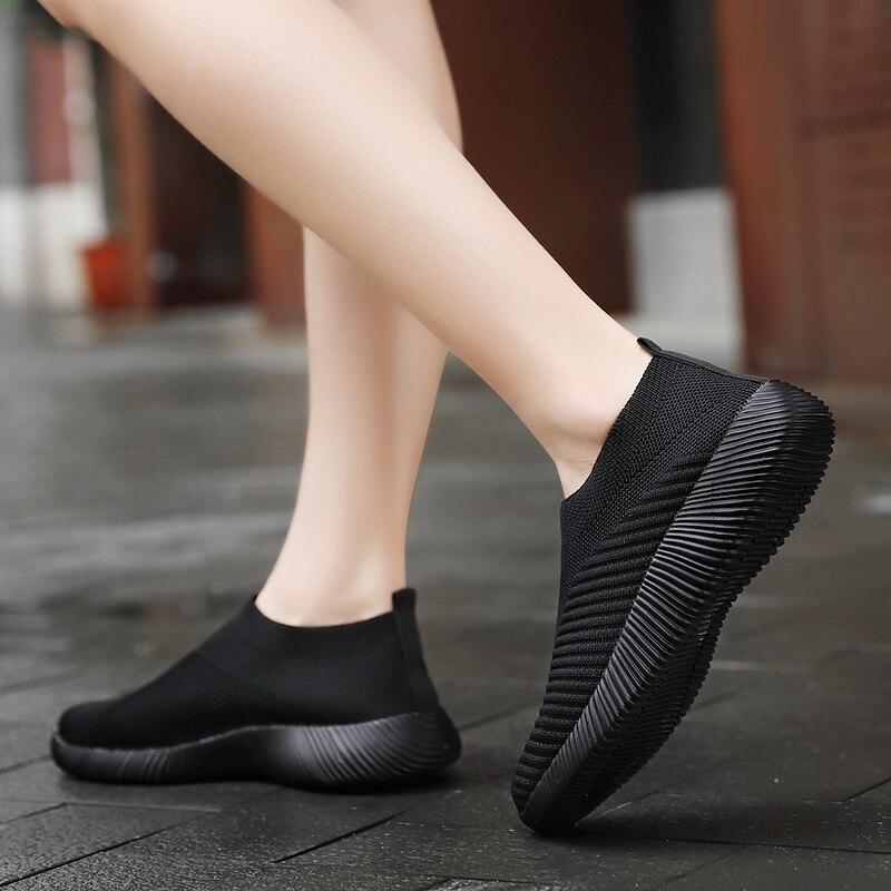 Кроссовки женские без шнурков, повседневная прогулочная обувь, дышащие, Вулканизация, плоская подошва, модные, оригинал