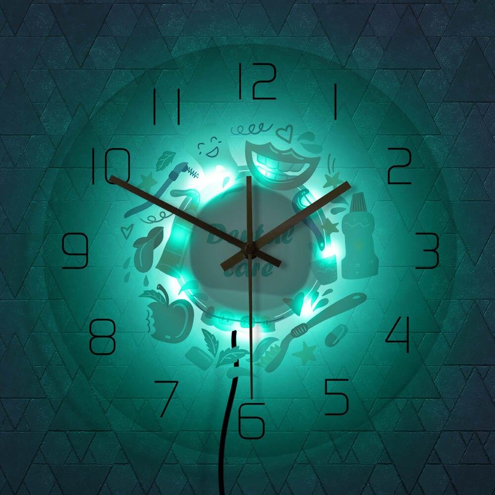 Cuidado Dental, reloj de pared decorativo de oficina para dentista, estomatología, higiene Oral, reloj de pared, decoración de clínica Dental, arte de pared para odontología