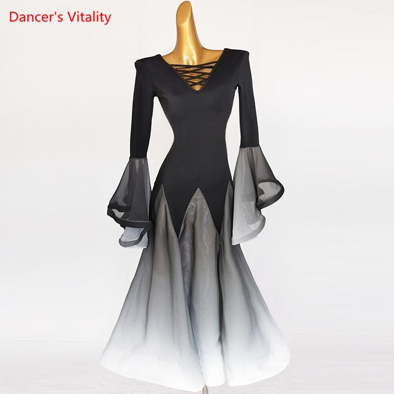 فستان رقص قاعة الرقص الخامس الرقبة كبيرة سوينغ تنورة أداء الملابس مهنة مخصص الكبار الطفل الراقية المنافسة الملابس