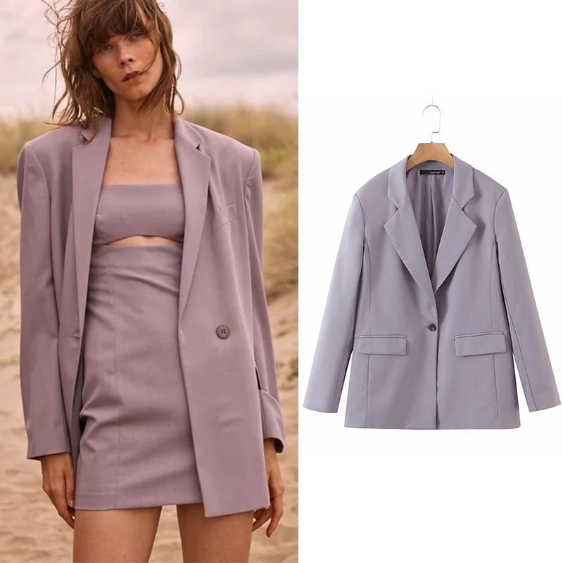 سترة وجاكيت نسائي طويل باللون البنفسجي بتصميم إنجليزي جديد من ويساي جيسي زا جاكيت + فستان مفتوح من قطعتين