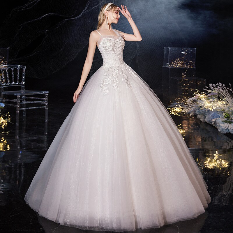 New Spaghetti Strap Sleeveless Embroidery Wedding Dress Backless Floor-Length Luxurious Plus Size Wedding Gowns For Women G127 attractive spaghetti strap embroidery high slit maxi dress for women