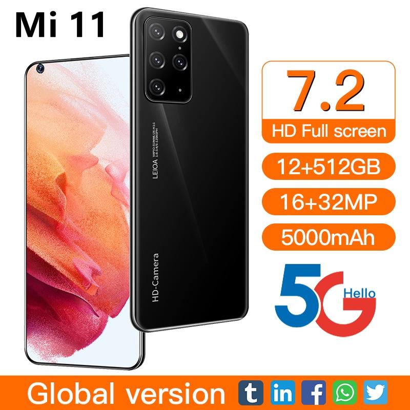 Mi 11 Global Version Smartphone 7.2 inch Android 12GB 512GB 32MP Carema 4G5G Cell Phone 5000mAh Celu