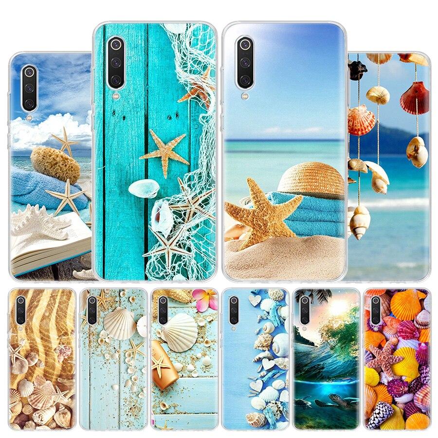 Conchas marinas de madera azul, funda de teléfono de estrella marina para Xiaomi Redmi Note 8T 9S 10 8A 7 7A 6 6A MI 10 9 8 CC9 Pro Lite, funda de lujo, Coque Ca