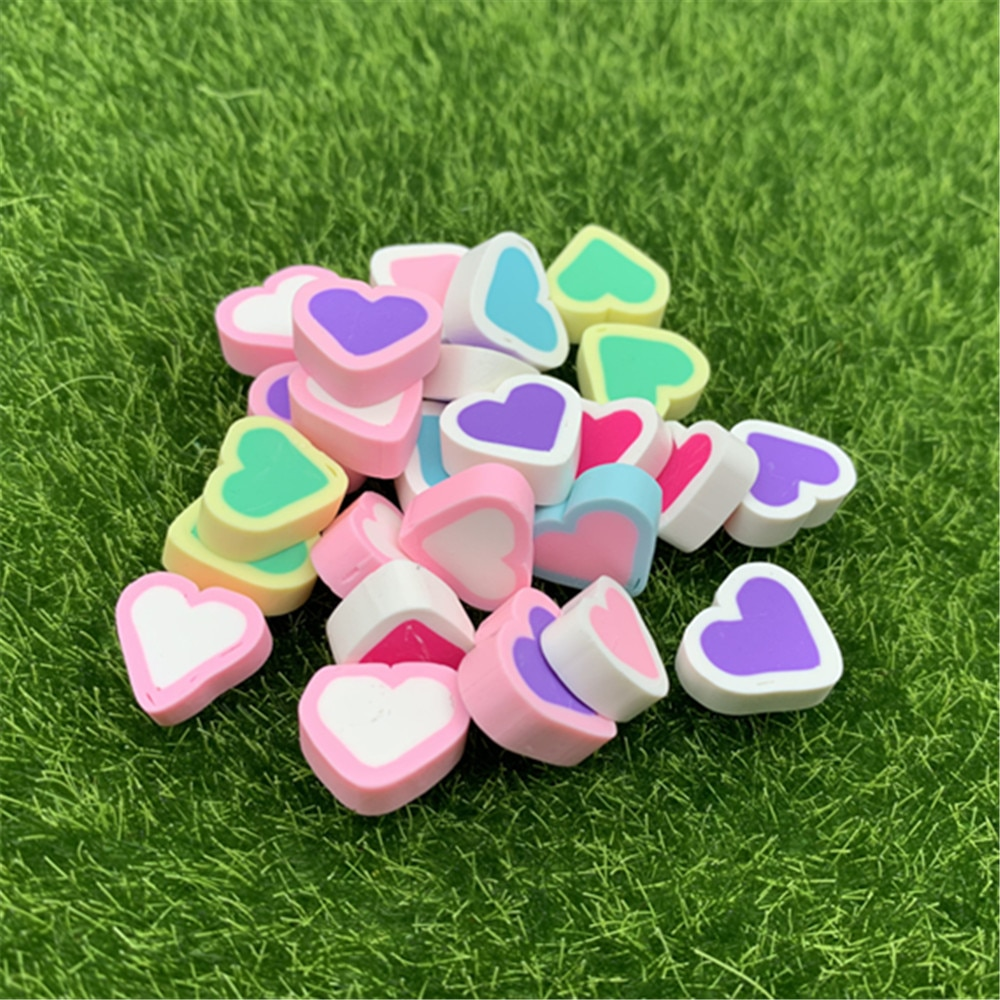 Accesorios con forma de corazón para manualidades, bricolaje, uñas de polímero de arte claro, arcilla, lentejuelas para álbum de recortes, color caramelo