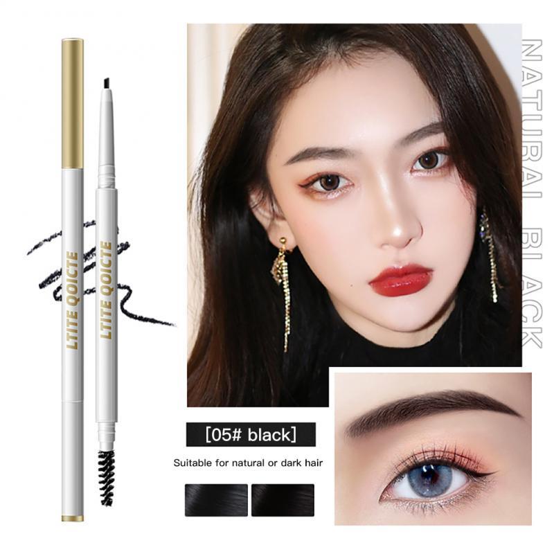 Natural Makeup Double Head Super Fine Eyebrow Pencil Waterproof Lasting Eye Black Brown Make Rotatab