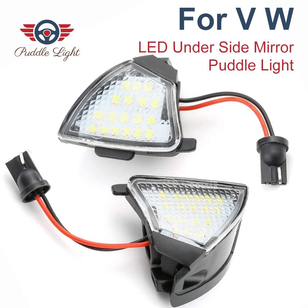2Pcs LED Under Side Mirror Puddle Light for Skoda Superb VW Golf 5 6 Plus MKV Passat B5.5 B6 3C CC Sharan Tourn Eos Jetta Rabbit
