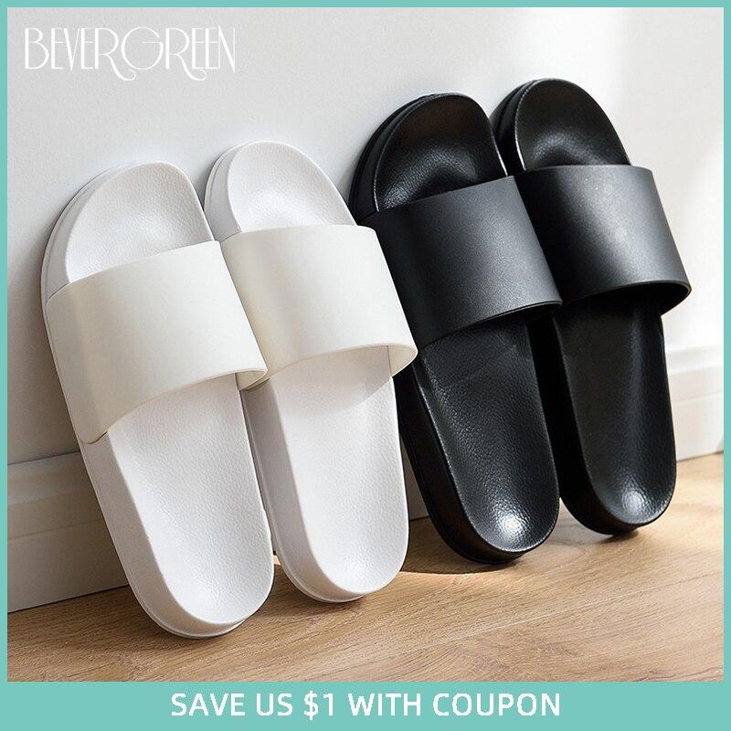 Summer Home Men Slippers Simple Black White Lovers Shoes Non-slip Bathroom Slides Flip Flops Indoor Women Platform Slippers