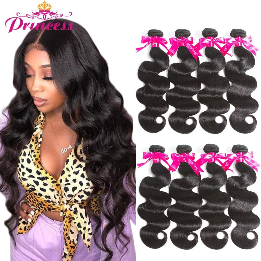 Bela princesa cabelo brasileiro tecer pacotes dupla trama onda do corpo feixes de cabelo humano cor natural remy cabelo 1/3/4 peças