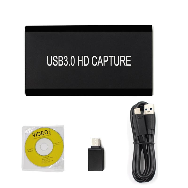 Tarjeta de captura de juegos HDMI 1080P 60fps tipo C USB 3,0 HD grabadora de vídeo caja de dispositivo compatible con transmisión en directo de juegos, tarjeta de captura HDMI
