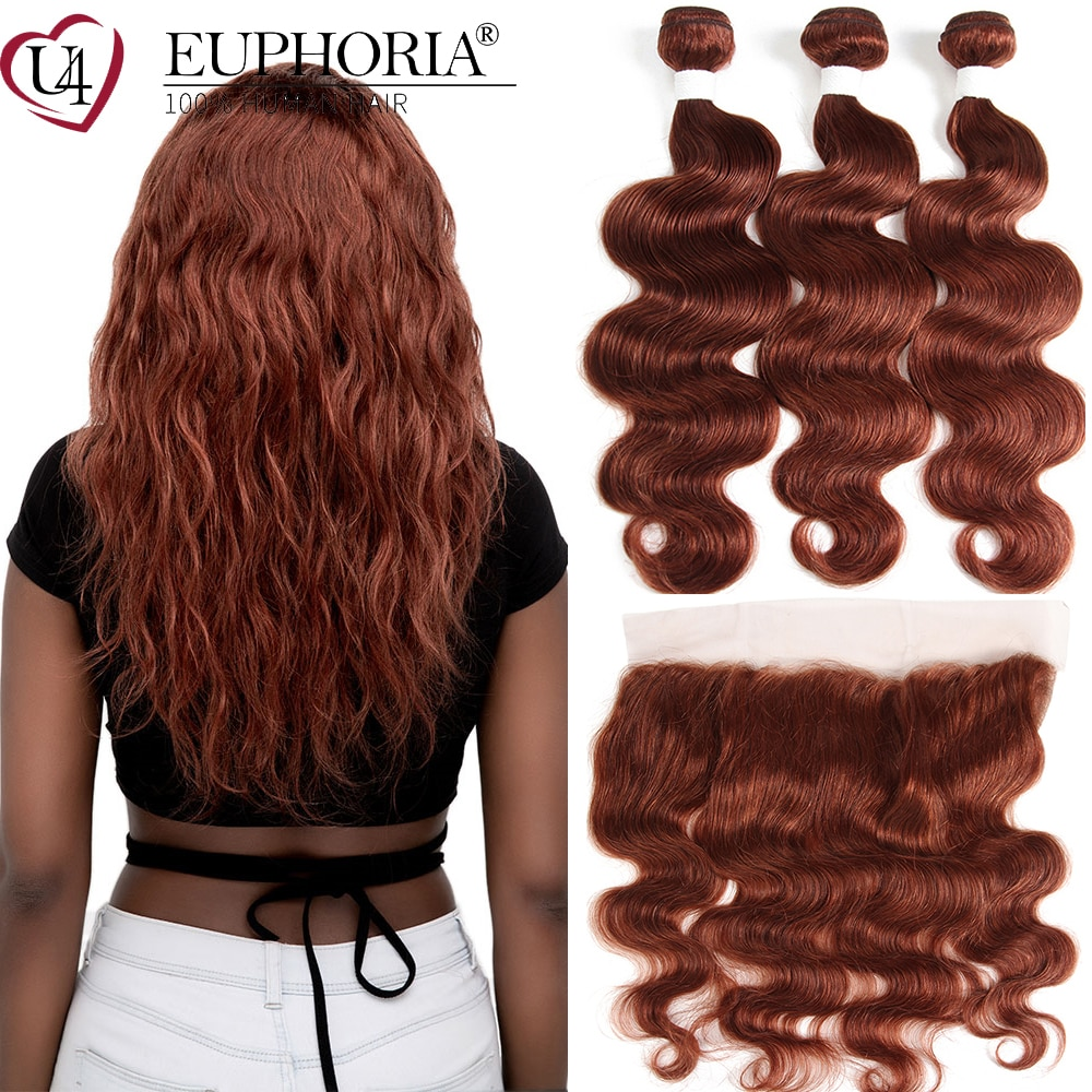 Body Wave Hair Bundles With Frontal Honey Brown 33 Brazilian Remy 100% Human Hair 3/4 Bundles With 13x4 Lace Frontal EUPHORIA