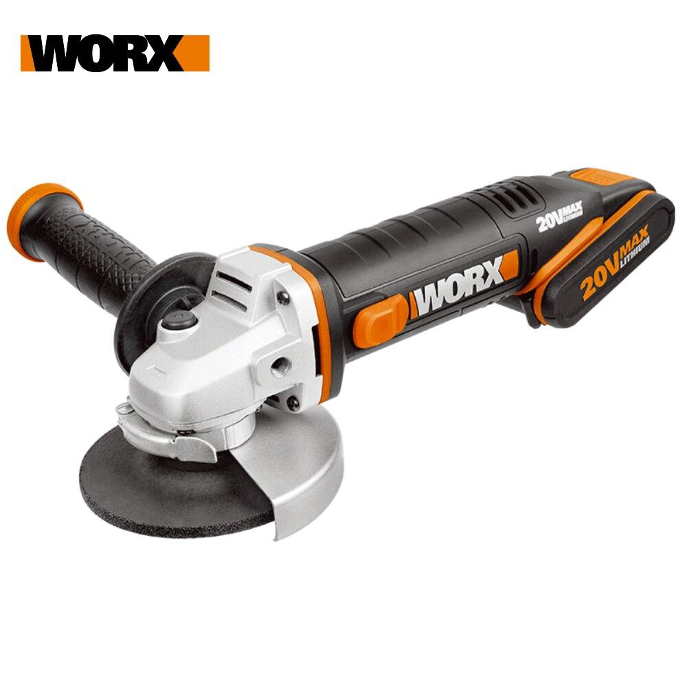 Amoladora de ángulo inalámbrico Worx 20V WX800, rectificadora eléctrica de 115mm, herramienta eléctrica recargable de velocidad Variable para el hogar