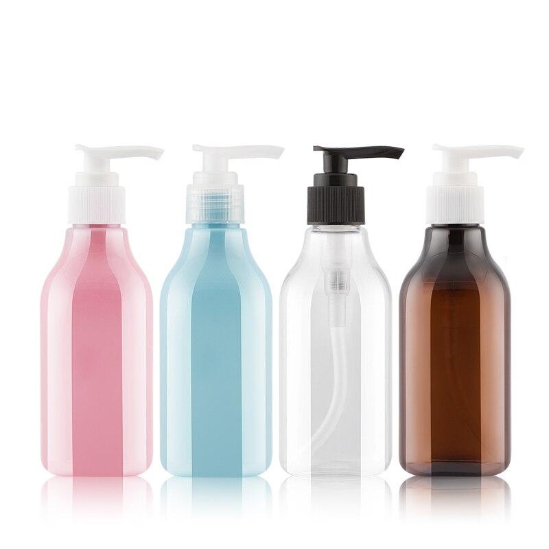 250ML 25 unids/lote botella de plástico cuadrada con bomba de loción, envase cosmético vacío botella de envasado de champú