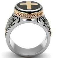new retro cross praying hands pattern ring mens ring fashion vintage metal ring accessories party jewelry size 7 12