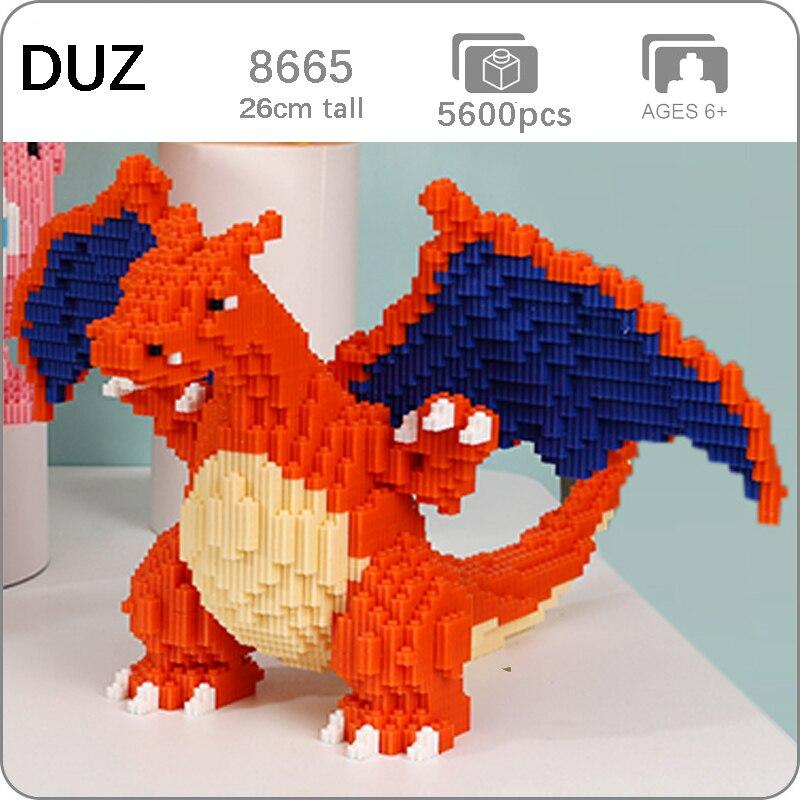 DUZ 8665 Anime Charizard, Animal monstruo de bolsillo de dragón, modelo 3D DIY, Mini bloques de construcción, juguete para niños de 26cm de altura sin caja